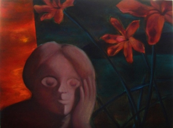 """A happy blossom hears your sobbing"", oil on canvas, 60 cm x 90 cm, 2008"