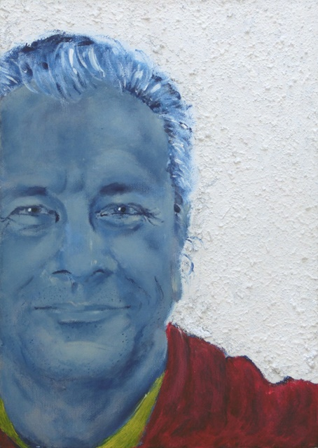 """David in blue"", mixed media on canvas, 35.5 cm x 25.5 cm, 2006"