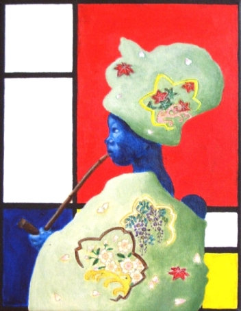 """East meets West meets Africa II"", mixed media on canvas, 35.5 cm x 28 cm, 2009"