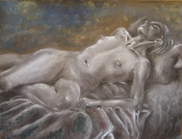 """Ennui"", mixed media on coloured paper,50cm x 65 cm, 2005"