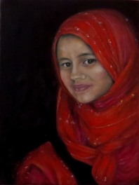 """Girl in Red Shawl"", oil on canvas, 41 cm x 31 cm, 2014"