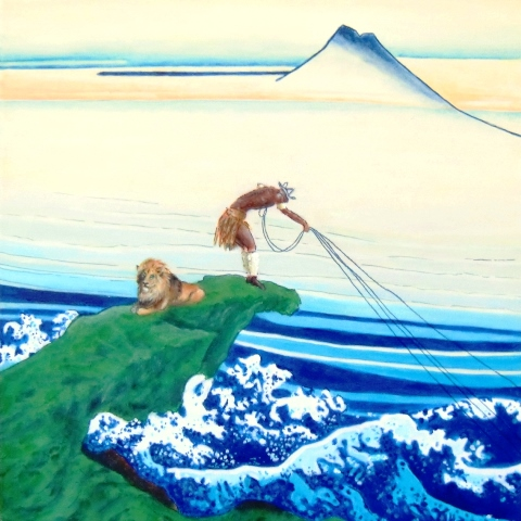 """""""Hokusai South African style II"""", mixed media on canvas with kimono fabric, 45.5 cm x 45.5 cm, 2010"""