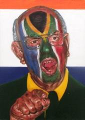 """I never supported apartheid"", acrylic on canvas, 35.5 cm x 25.5 cm, 2009"