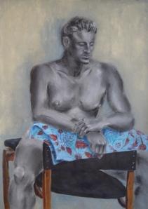 """""""Le penseur"""", mixed media on paper, 70 cm x 50 cm, 2005"""