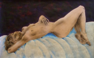 """""""Morning drinks my silent tear"""", mixed media on paper, 43cm x 68cm, 2006"""