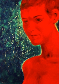 """Amy in Red"", acrylic on canvas, 2010"