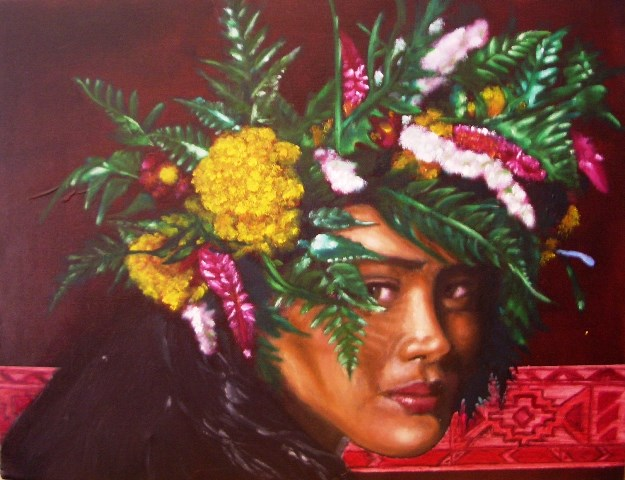 """Tahitian girl with a Ndebele pattern"", oil on canvas, 36 cm x 46 cm, 2009"