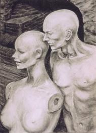 """Whisper"", charcoal on paper, 59 cm x 41 cm, 2000"