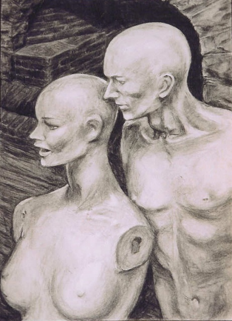 """Whisper"", charcoal on paper, 59 cm x 41 cm, 2000"