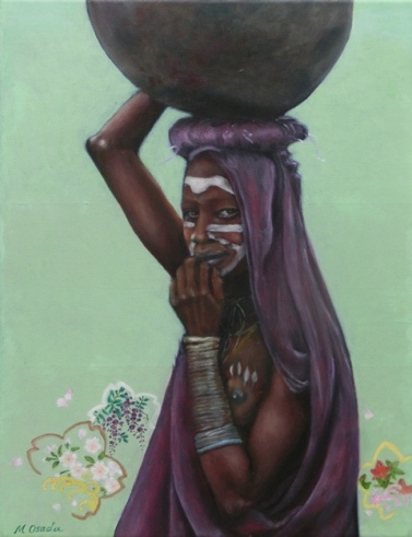 """Ethiopian girl with cherry blossoms III"", oil on canvas, 18'' x 14'', 2010"