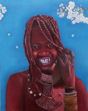 """""""Himba girl in Japanese spring"""", oil on canvas, 20'' x 16'', 2010"""