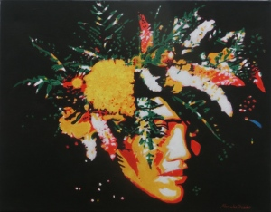 """Tahitian girl with flowers"", acrylic on canvas, 14'' x 18'', 2009"