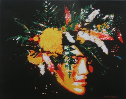 """""""Tahitian girl with flowers"""", acrylic on canvas, 14'' x 18'', 2009"""