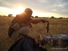 Cameraman at work, Kalahari Desert, South Africaeraman at work, Kalahari Desert, South Africa
