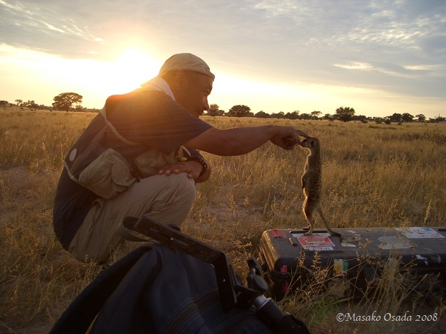 Cameraman at work, Kalahari Desert, South Africaeraman at work, Kalahari Desert, South Africa