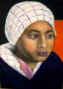 """""""School girl on bus"""", oil on canvas, 35.5cm x 25.5cm, 2007"""