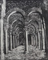 """The Great Mosque of Kairouan"", etching, edition of 2, 49cm x 39cm, 2007"