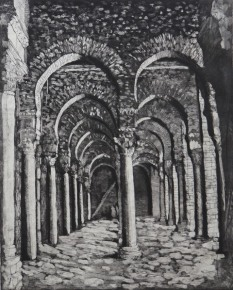 """""""The Great Mosque of Kairouan"""", etching, edition of 2, 49cm x 39cm, 2007"""