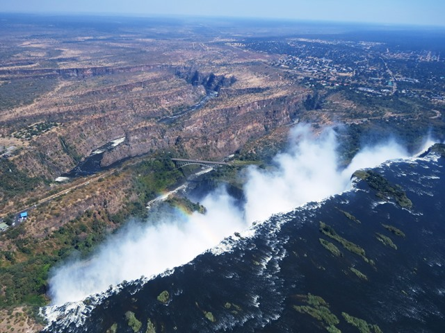 Victoria Falls and the Zambezi from a helicopter, Zimbabwe, May 2016