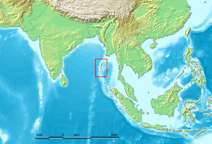 Location of the Andaman Islands