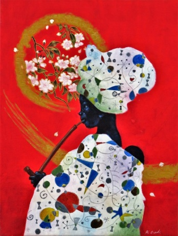 """East meets West meets Africa IV"", mixed media on canvas, 40.5 cm x 31 cm, 2010"