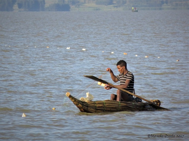 Fishing in papyrus boat
