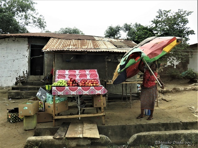 Fruit seller, on the way to Katata, Liberia, April 2017