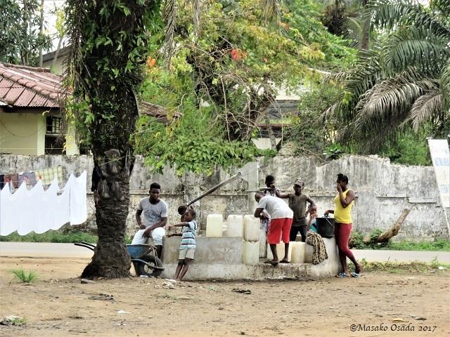 Communal water pump, Monrovia, Liberia, April 2017