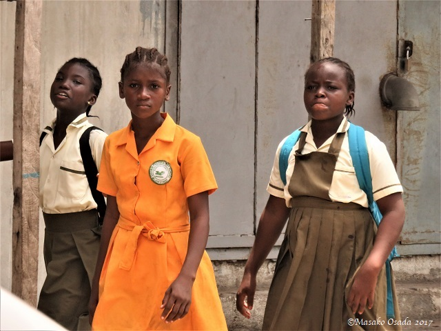 School girls on the way home, Monrovia, Liberia, April 2017