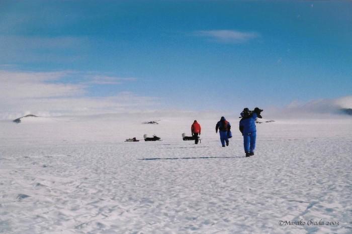 Cameraman at work, Novolazarevskaya, Antarctica 2003