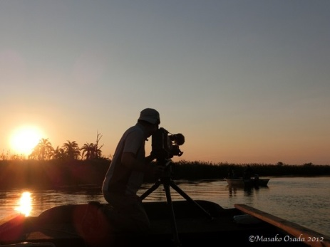 Cameraman at work, Okavango Panhandle, Botswana