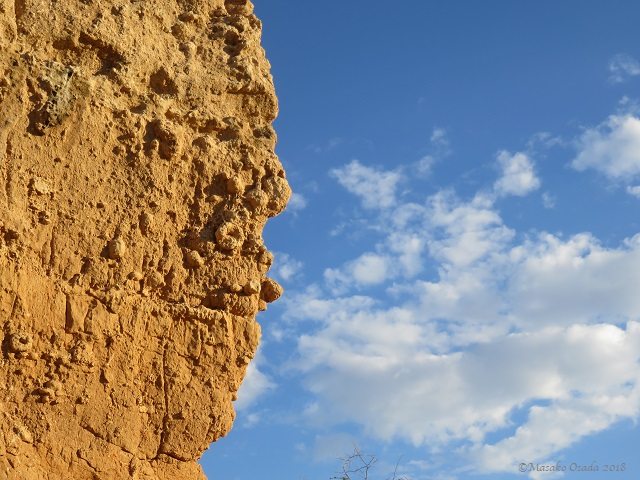 Enormous rock looking like human face, Vingerklip, Namibia, May 2018