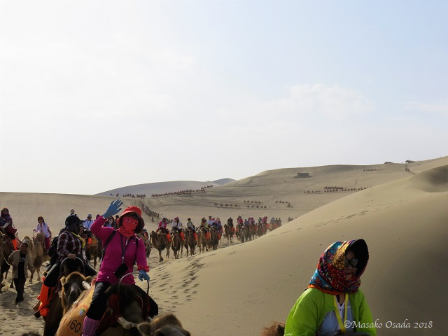 Camel ride. Mingsha Mountain Crescent Spring Resort, Dunhuang, Gansu, September 2018