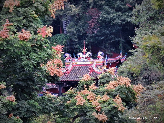 Temple in forest. Dujiangyan, Sichuan, September 2018