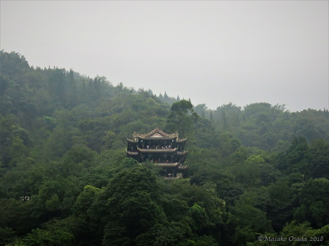 Temple in mountain. Dujiangyan, Sichuan, September 2018