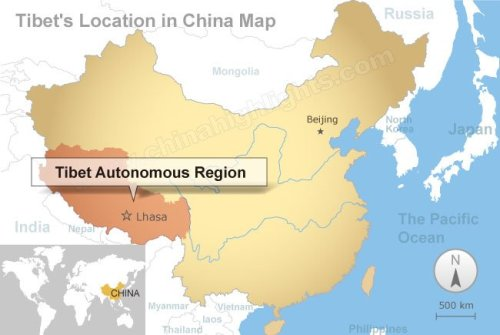 Tibet's Location in China Map