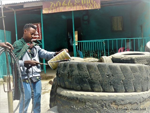 Tyre repair shop, Tarmaber, Ethiopia, November 2018