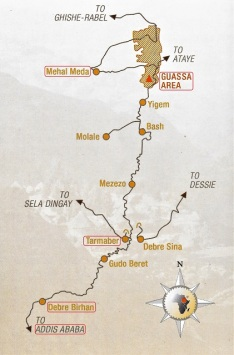 Addis to Guassa map