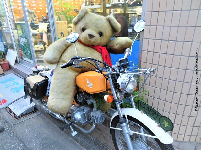 Bear on motorbike in front of Chinese herbal medicine shop, Tokyo, November 2019