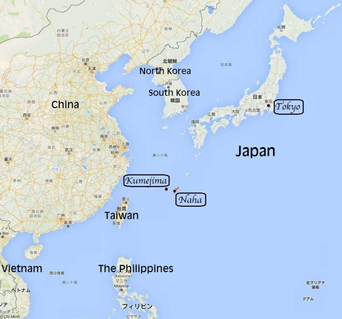 Map of Tokyo, Naha, Kumejima