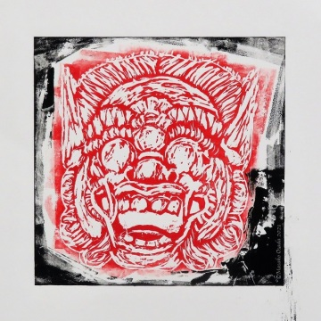 linocut of Indonesian mask on Fabriano Rosaspina